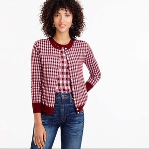 J. Crew Collection Cashmere Gingham Cardigan M